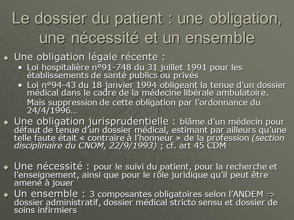 Le dossier du patient : une obligation, une nécessité et un ensemble