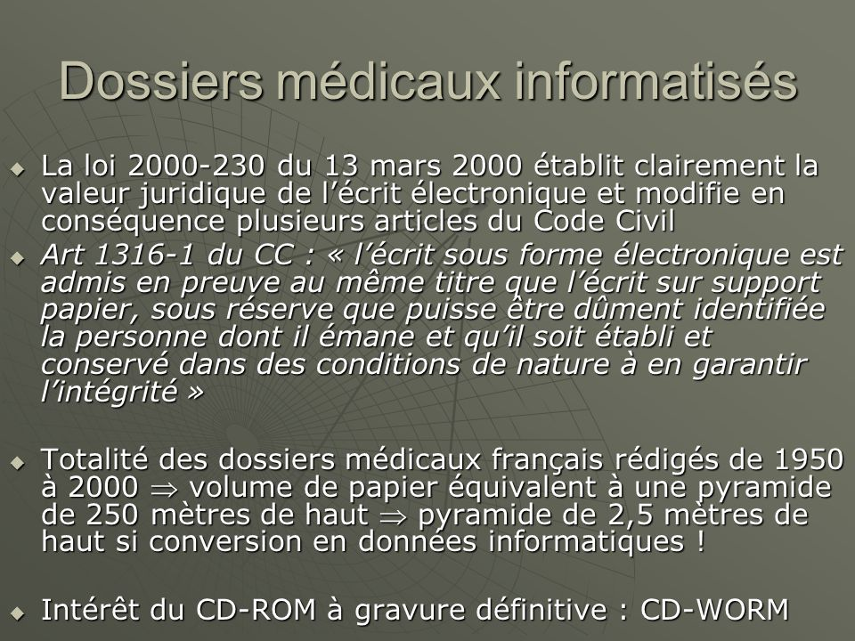 Dossiers médicaux informatisés