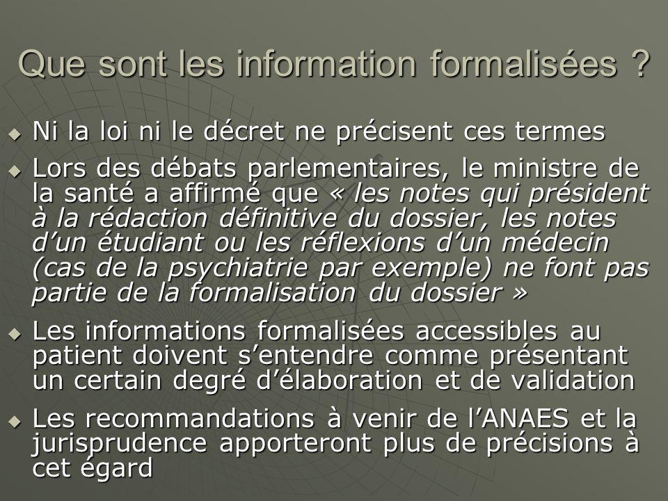 Que sont les information formalisées