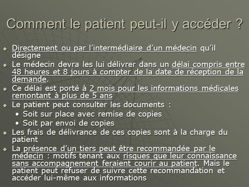 Comment le patient peut-il y accéder
