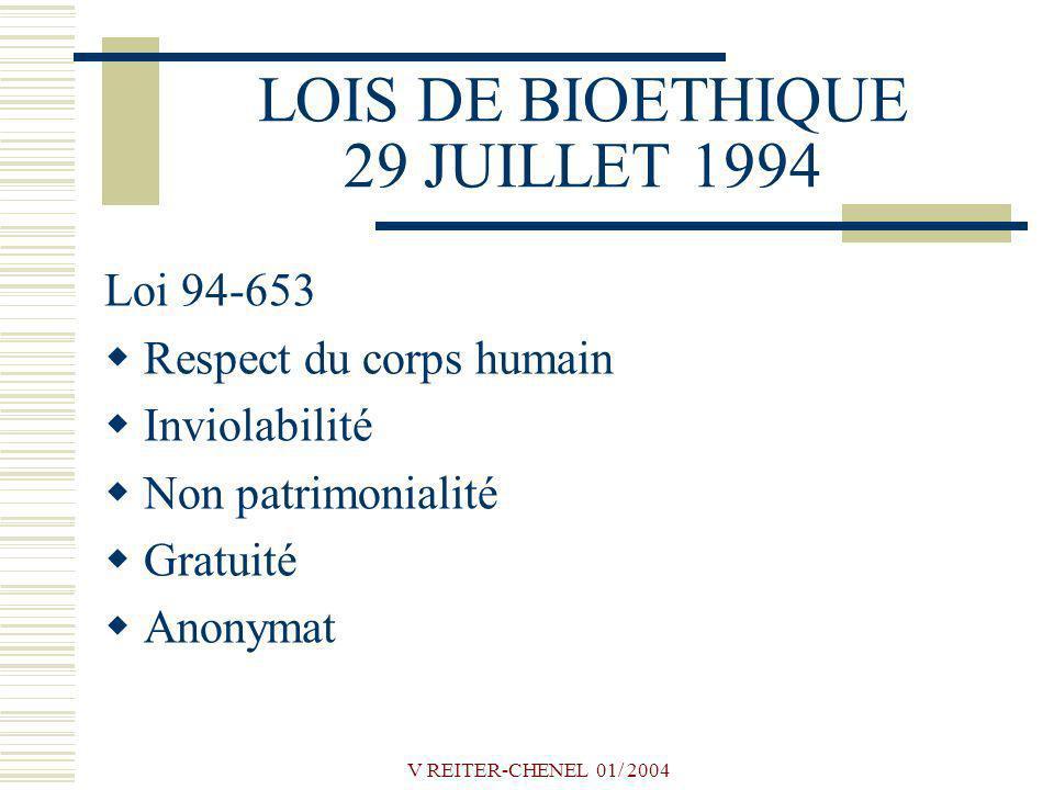 LOIS DE BIOETHIQUE 29 JUILLET 1994