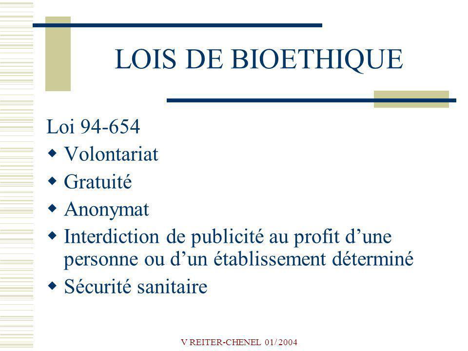 LOIS DE BIOETHIQUE Loi 94-654 Volontariat Gratuité Anonymat