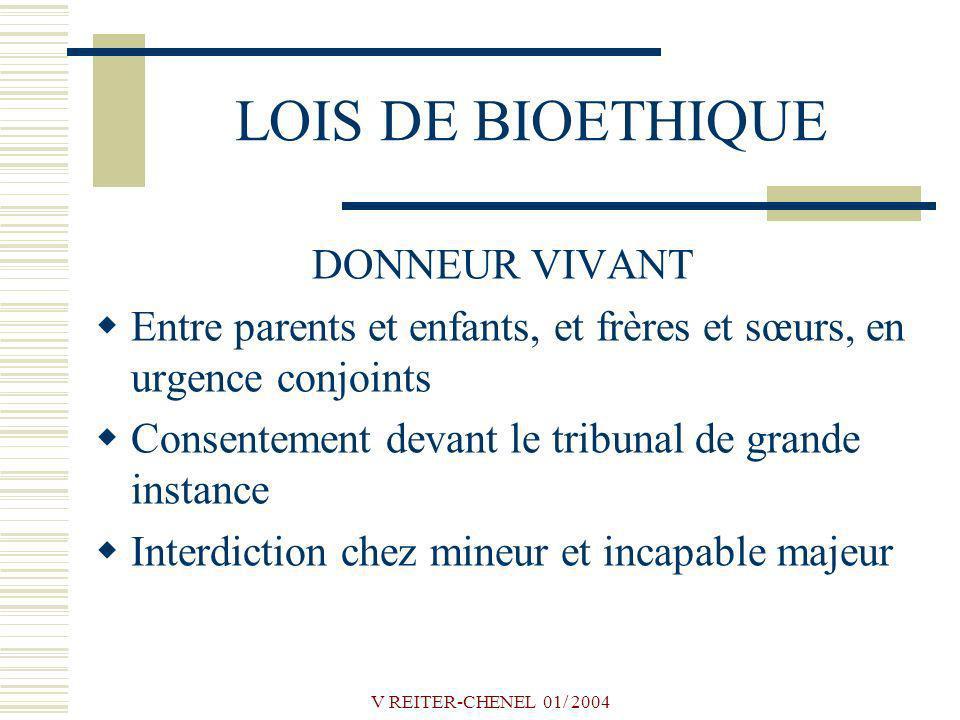 LOIS DE BIOETHIQUE DONNEUR VIVANT