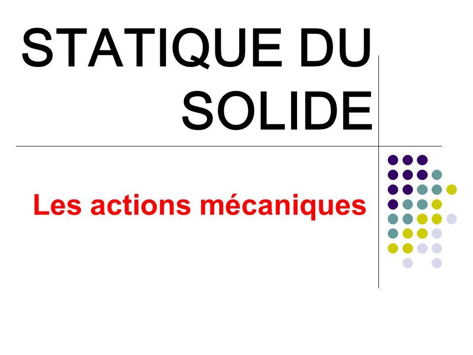 STATIQUE DU SOLIDE Les actions mécaniques