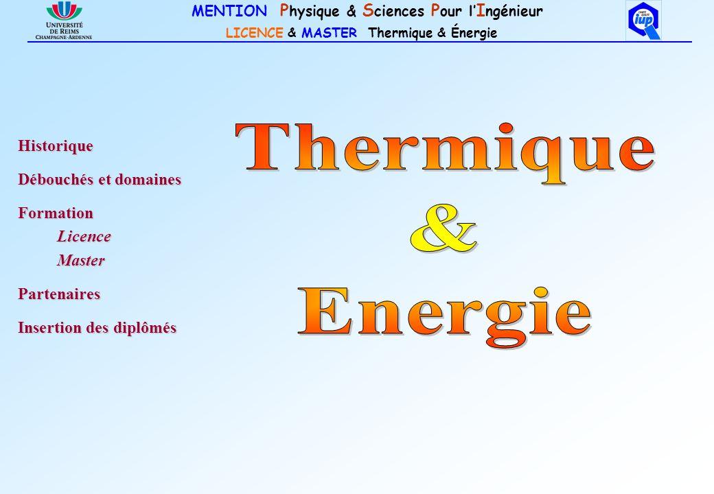 Thermique & Energie Historique Débouchés et domaines