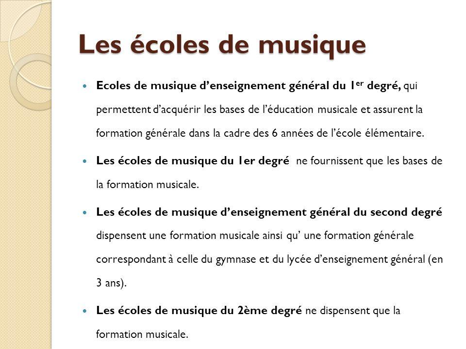 Les écoles de musique