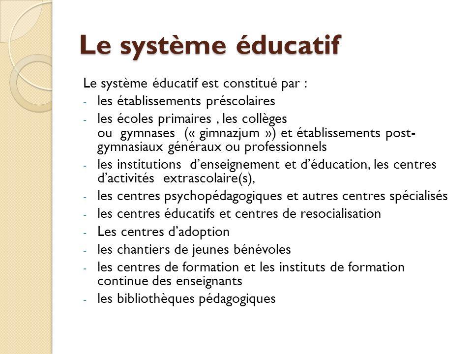 Le système éducatif Le système éducatif est constitué par :
