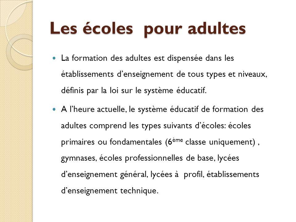 Les écoles pour adultes