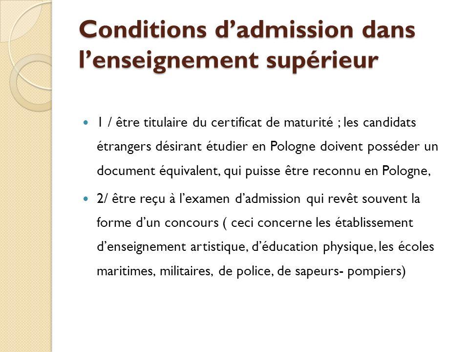 Conditions d'admission dans l'enseignement supérieur