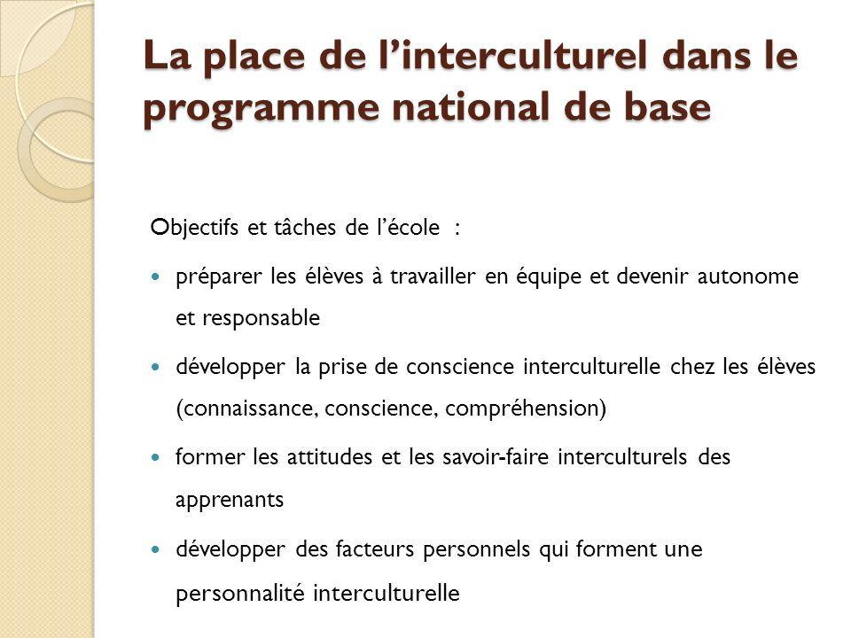 La place de l'interculturel dans le programme national de base