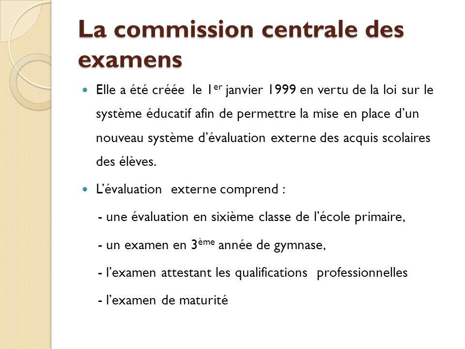 La commission centrale des examens