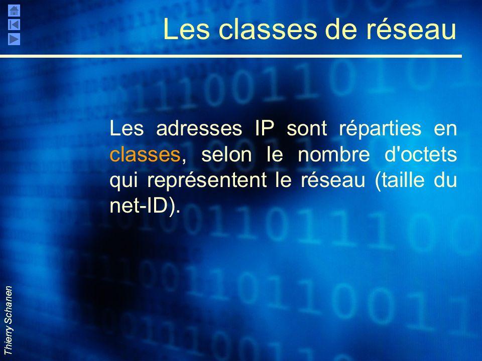 Les classes de réseau Les adresses IP sont réparties en classes, selon le nombre d octets qui représentent le réseau (taille du net-ID).
