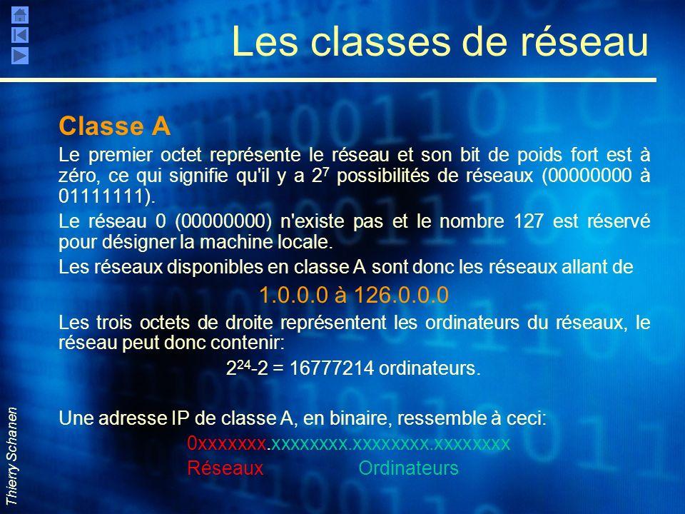 Les classes de réseau Classe A 1.0.0.0 à 126.0.0.0