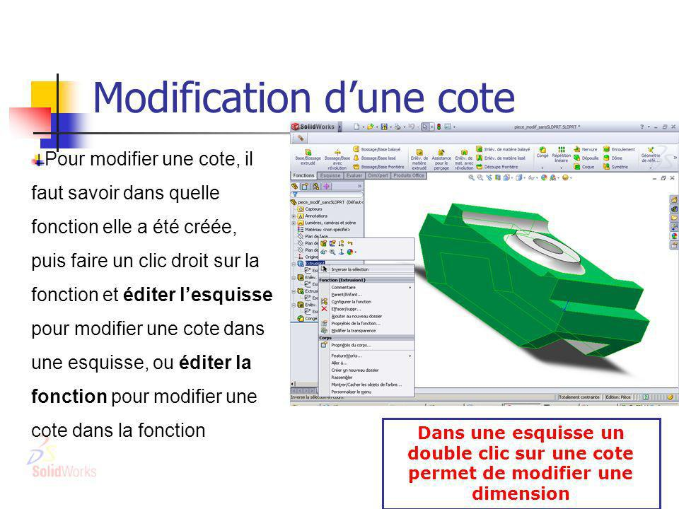 Modification d'une cote