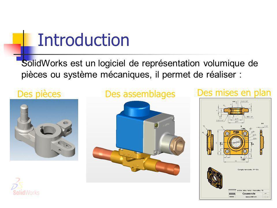 Introduction SolidWorks est un logiciel de représentation volumique de pièces ou système mécaniques, il permet de réaliser :