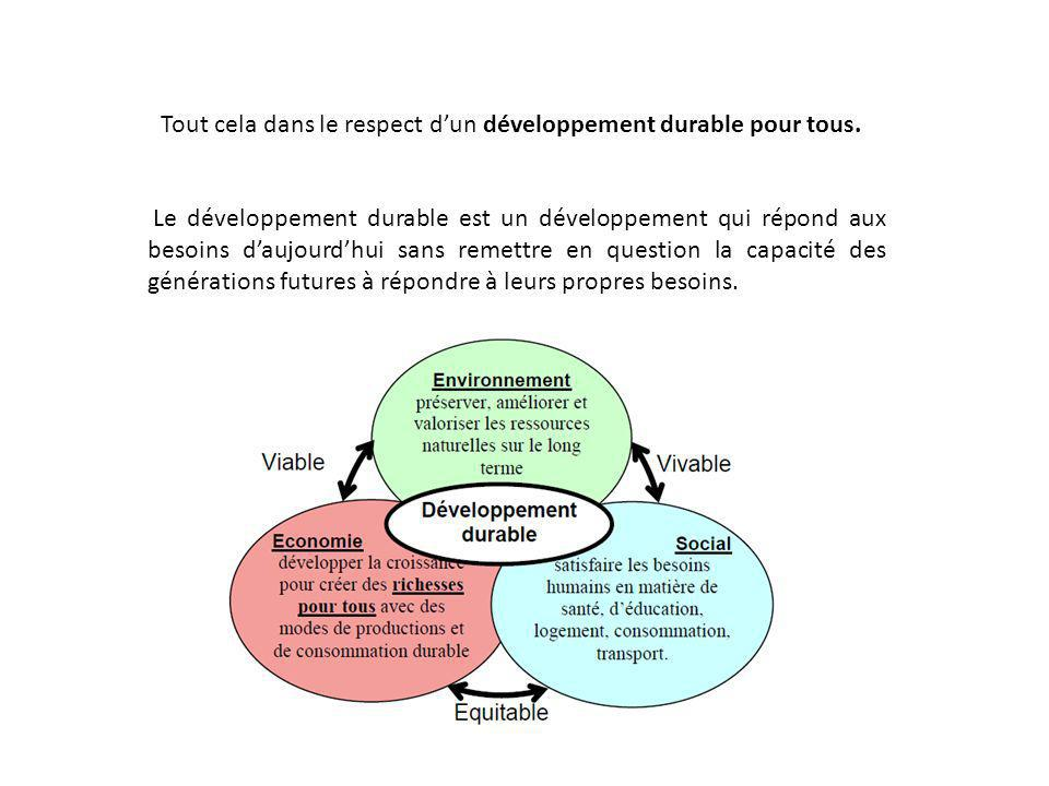 Tout cela dans le respect d'un développement durable pour tous.