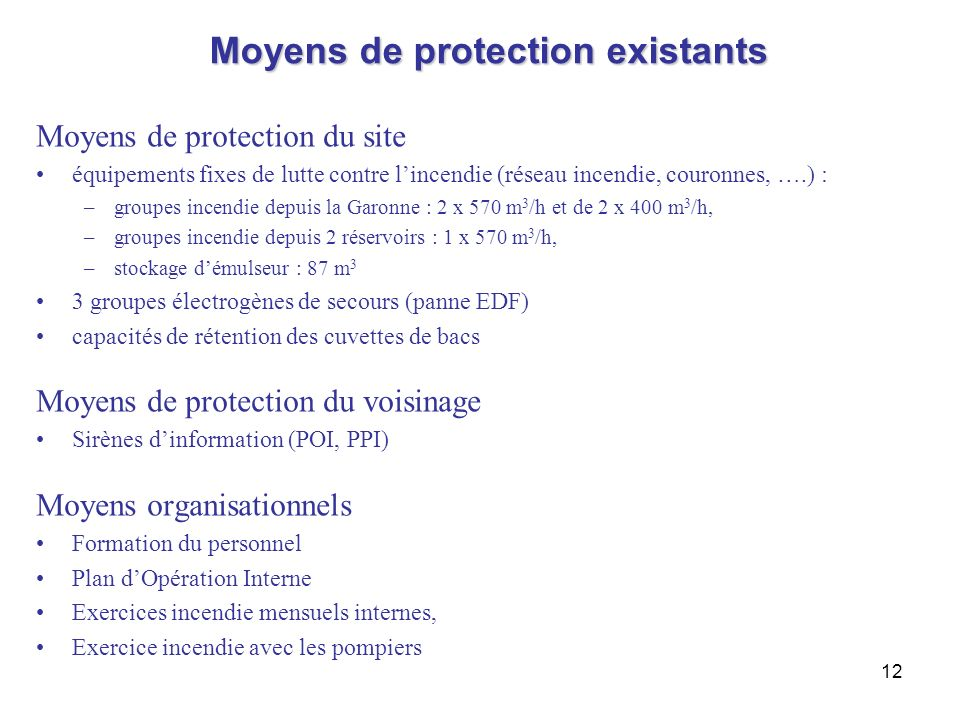 Moyens de protection existants