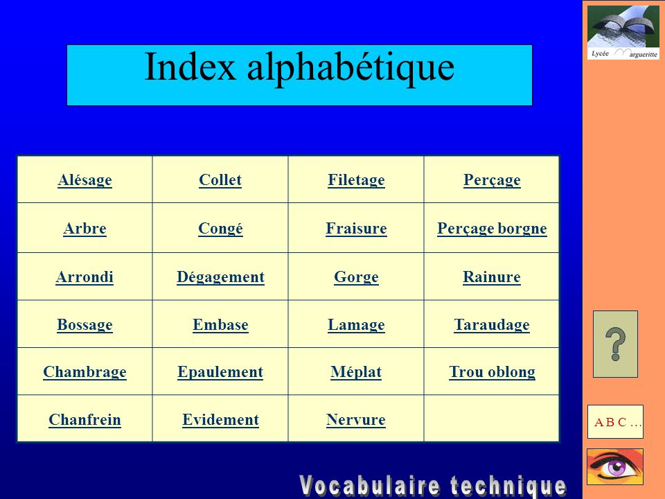 Index alphabétique Alésage Collet Filetage Perçage Arbre Congé