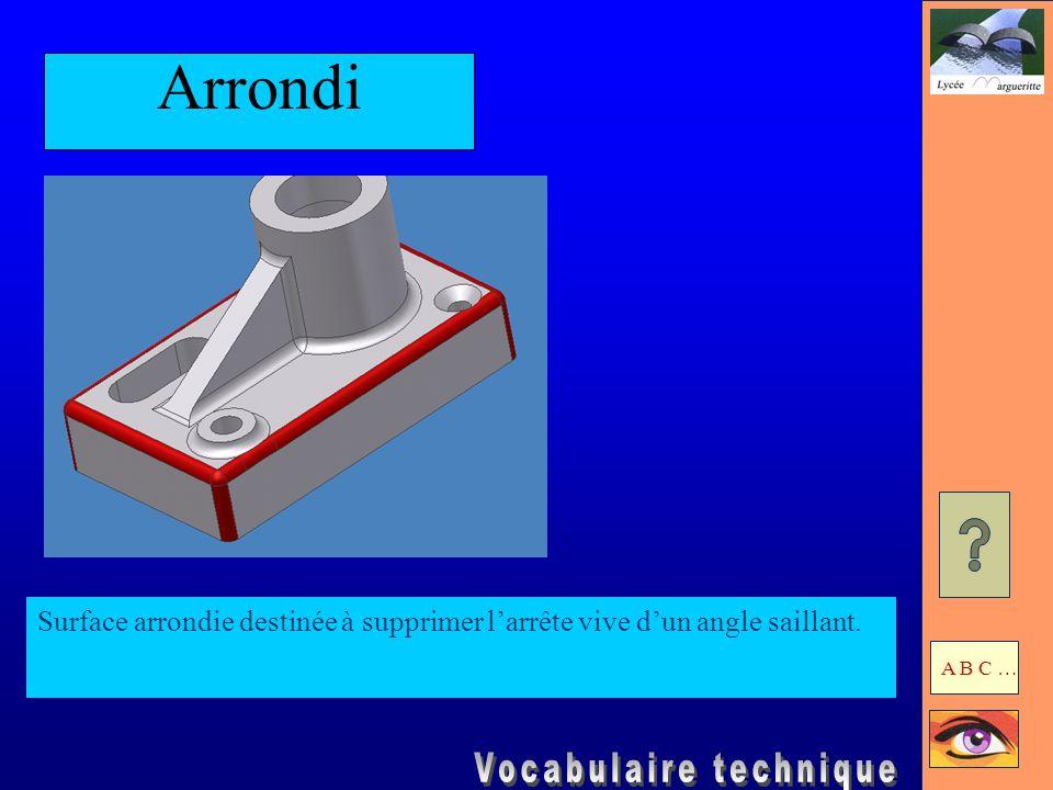 Arrondi Surface arrondie destinée à supprimer l'arrête vive d'un angle saillant. A B C …
