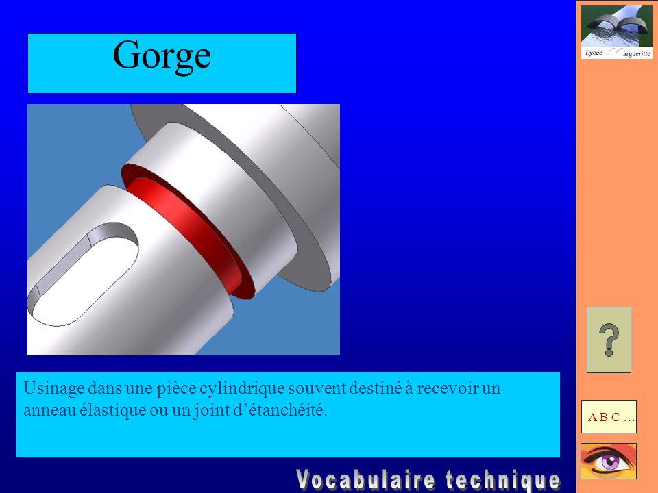 GorgeUsinage dans une pièce cylindrique souvent destiné à recevoir un anneau élastique ou un joint d'étanchéité.