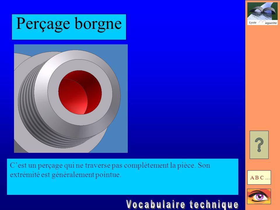 Perçage borgneC'est un perçage qui ne traverse pas complètement la pièce. Son extrémité est généralement pointue.
