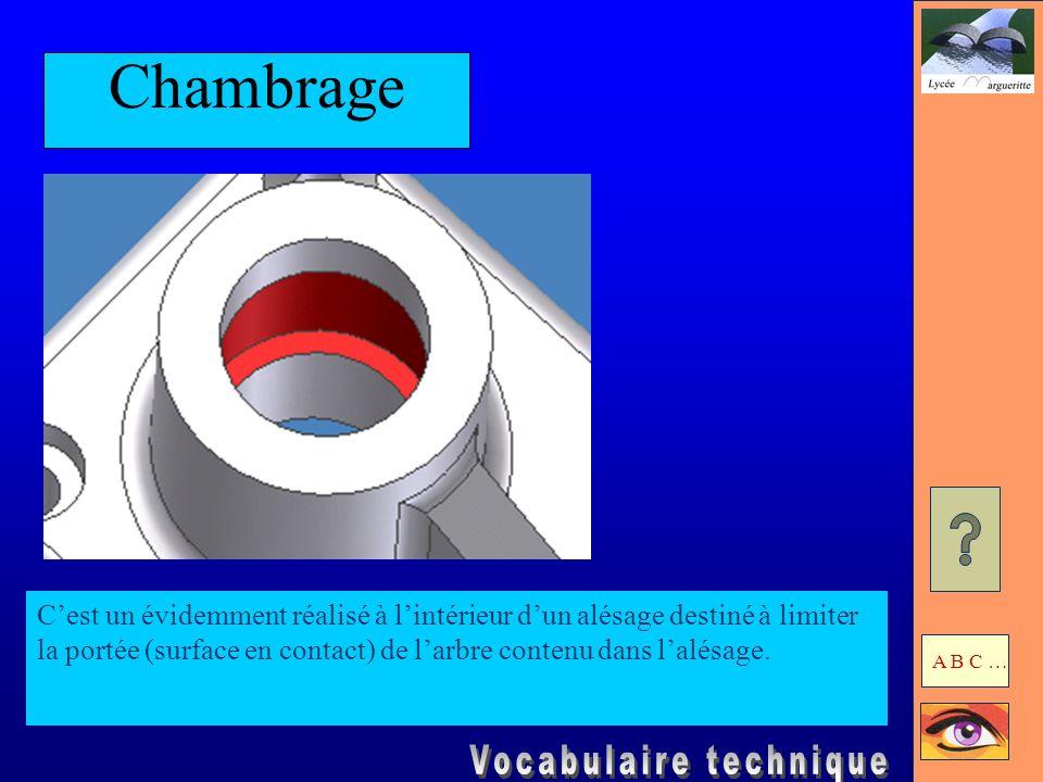 ChambrageC'est un évidemment réalisé à l'intérieur d'un alésage destiné à limiter la portée (surface en contact) de l'arbre contenu dans l'alésage.