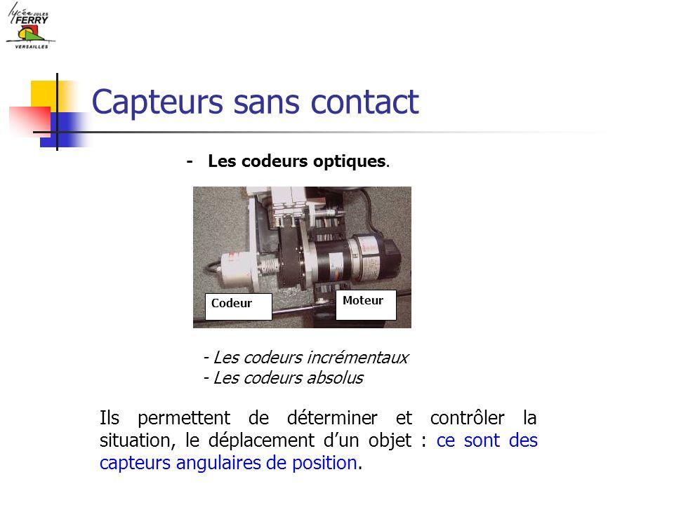 Capteurs sans contact - Les codeurs optiques. Codeur. Moteur. - Les codeurs incrémentaux. - Les codeurs absolus.