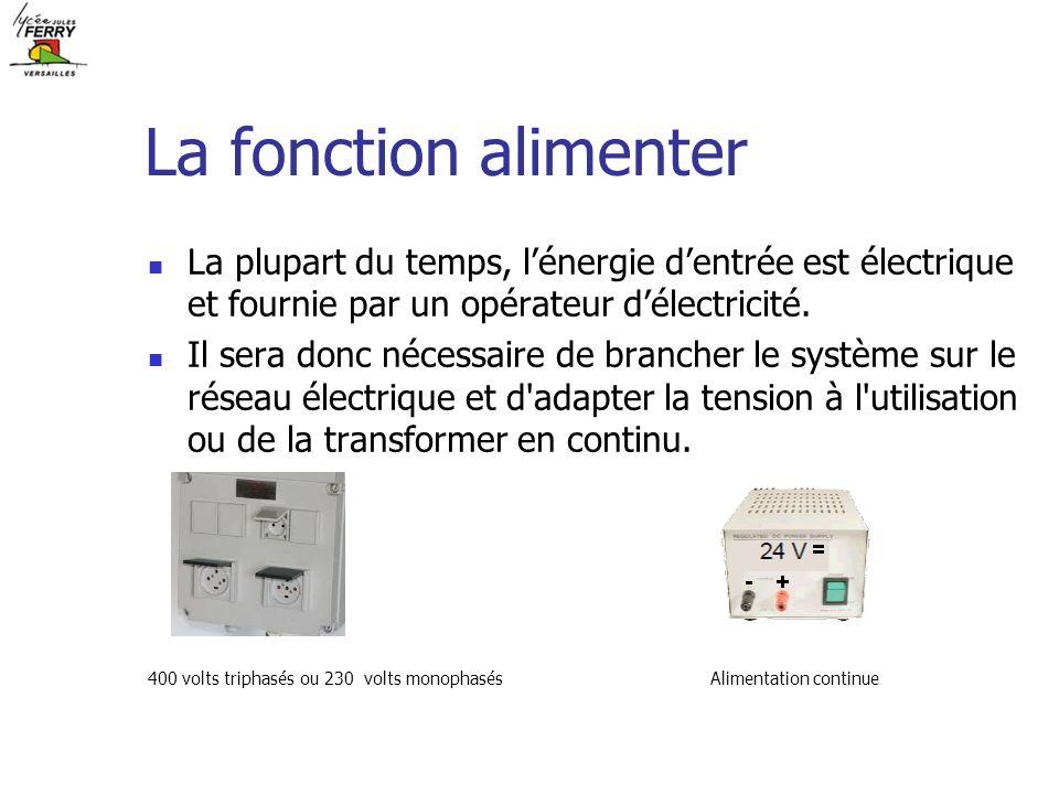 La fonction alimenter La plupart du temps, l'énergie d'entrée est électrique et fournie par un opérateur d'électricité.