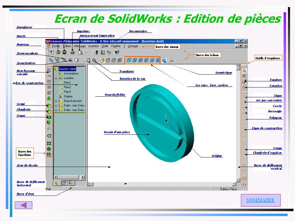 Ecran de SolidWorks : Edition de pièces