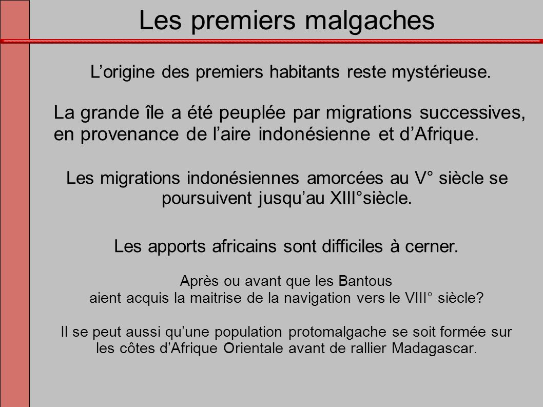 Les premiers malgaches