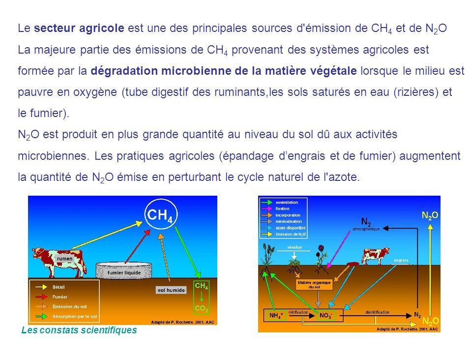 Le secteur agricole est une des principales sources d émission de CH4 et de N2O La majeure partie des émissions de CH4 provenant des systèmes agricoles est formée par la dégradation microbienne de la matière végétale lorsque le milieu est pauvre en oxygène (tube digestif des ruminants,les sols saturés en eau (rizières) et le fumier). N2O est produit en plus grande quantité au niveau du sol dû aux activités microbiennes. Les pratiques agricoles (épandage d'engrais et de fumier) augmentent la quantité de N2O émise en perturbant le cycle naturel de l azote.