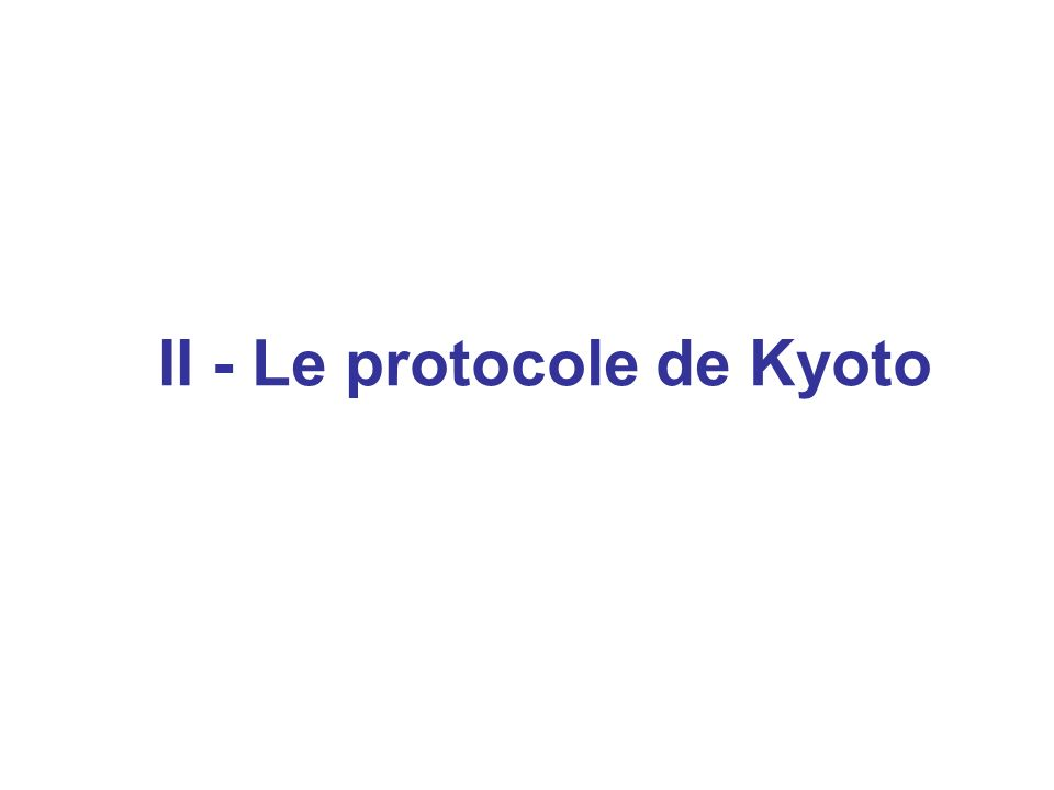 II - Le protocole de Kyoto