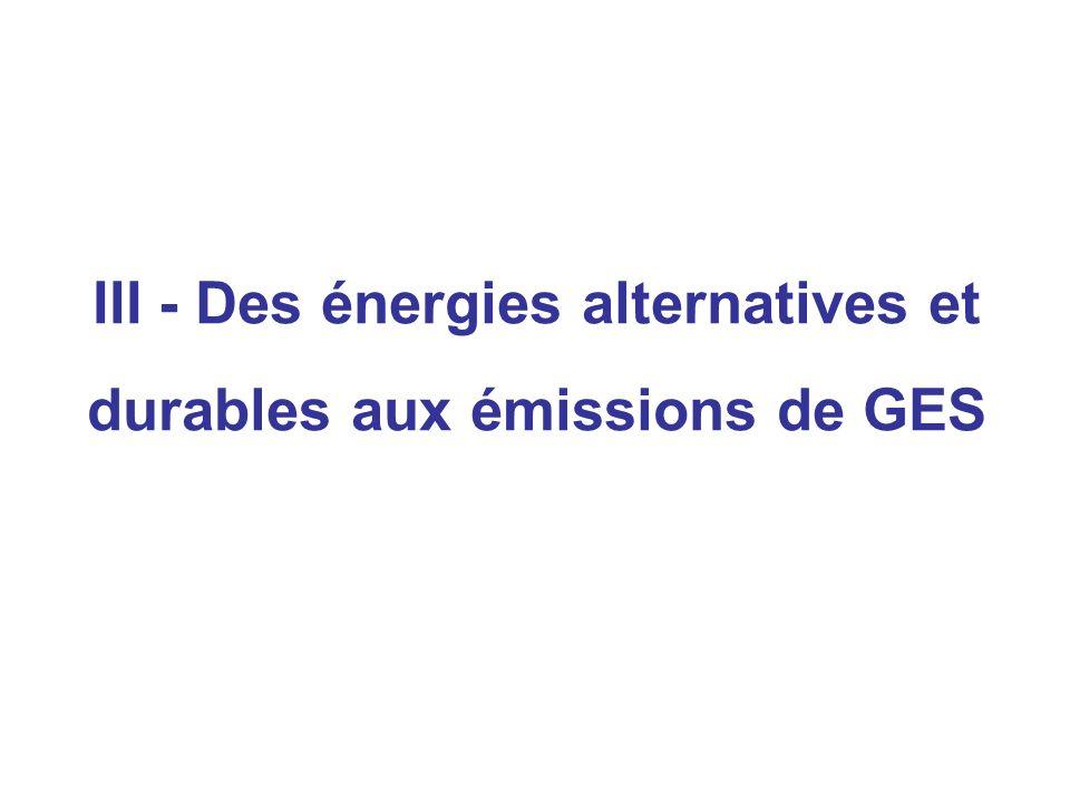 III - Des énergies alternatives et durables aux émissions de GES