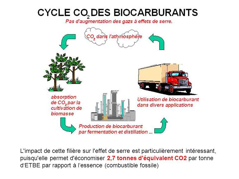 L impact de cette filière sur l effet de serre est particulièrement intéressant, puisqu elle permet d économiser 2,7 tonnes d équivalent CO2 par tonne d'ETBE par rapport à l'essence (combustible fossile)