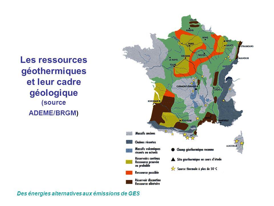 Les ressources géothermiques et leur cadre géologique (source ADEME/BRGM)