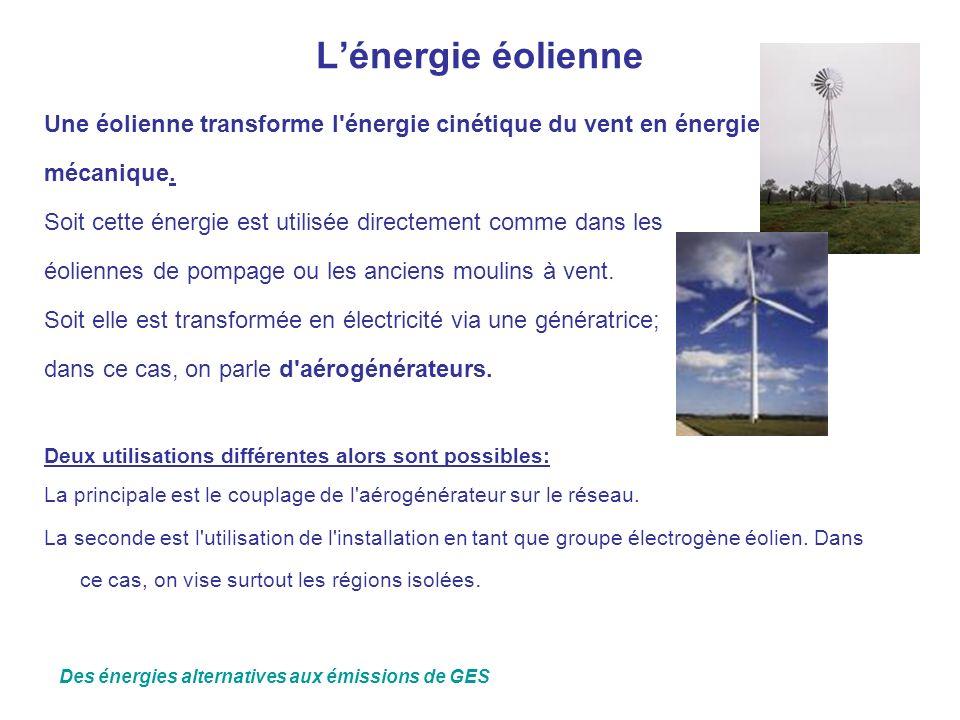 L'énergie éolienne Une éolienne transforme l énergie cinétique du vent en énergie. mécanique.