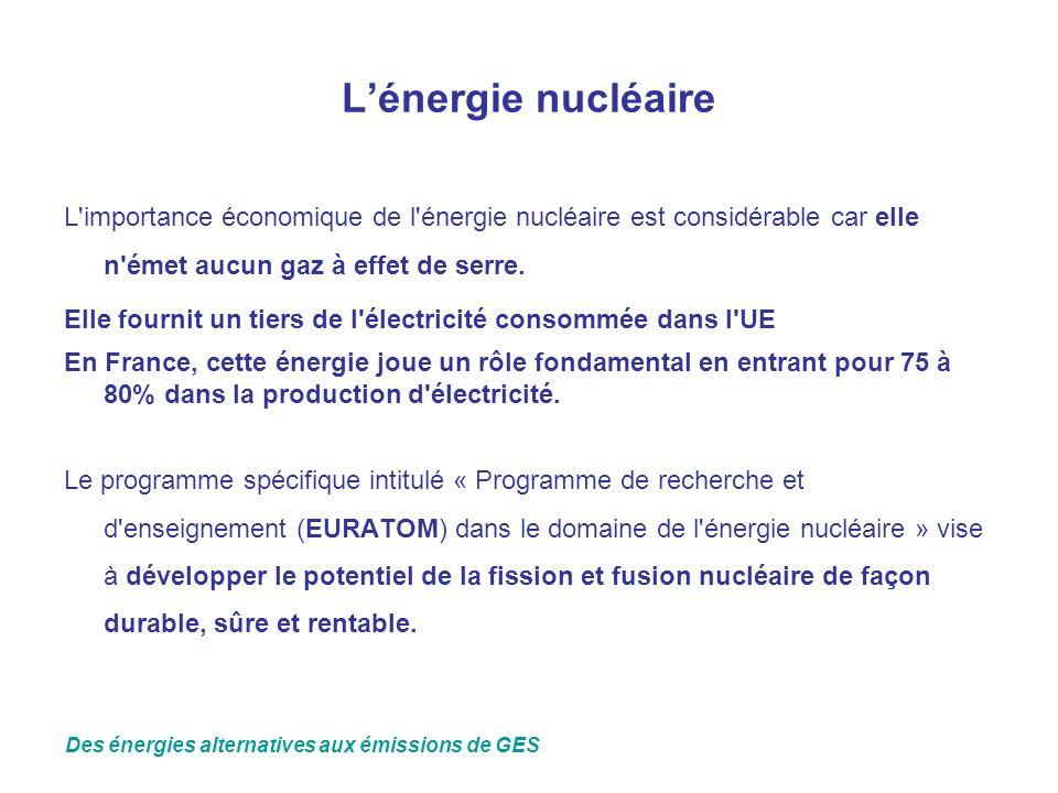 L'énergie nucléaire L importance économique de l énergie nucléaire est considérable car elle n émet aucun gaz à effet de serre.