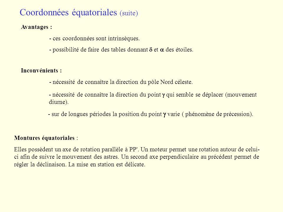 Coordonnées équatoriales (suite)