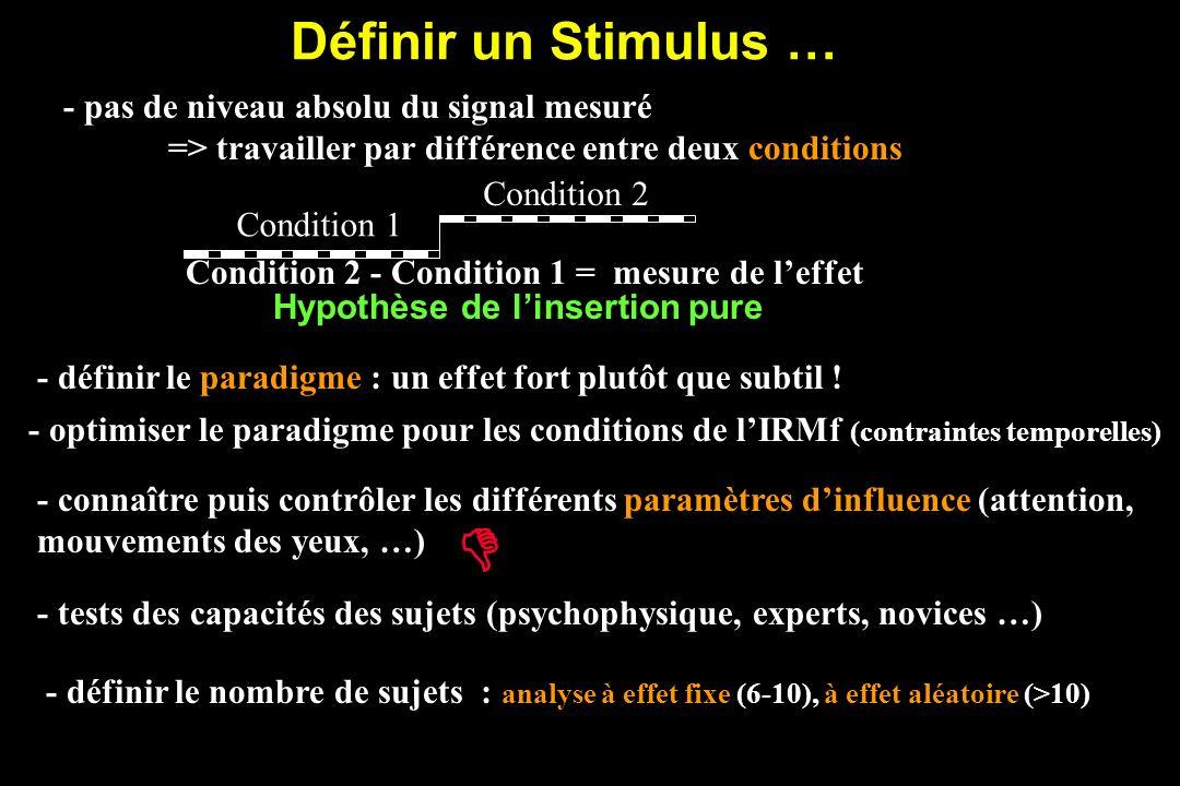 D Définir un Stimulus … - pas de niveau absolu du signal mesuré