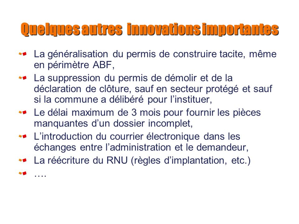 Quelques autres innovations importantes