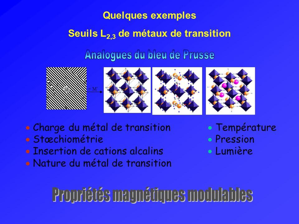 Seuils L2,3 de métaux de transition