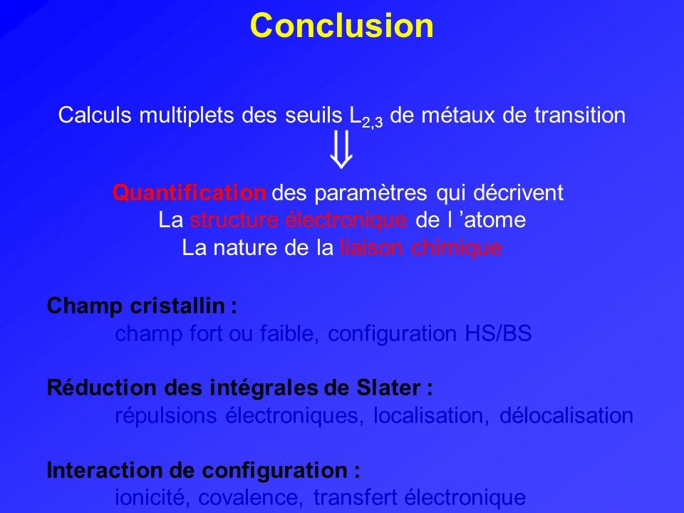 Conclusion Calculs multiplets des seuils L2,3 de métaux de transition.  Quantification des paramètres qui décrivent.