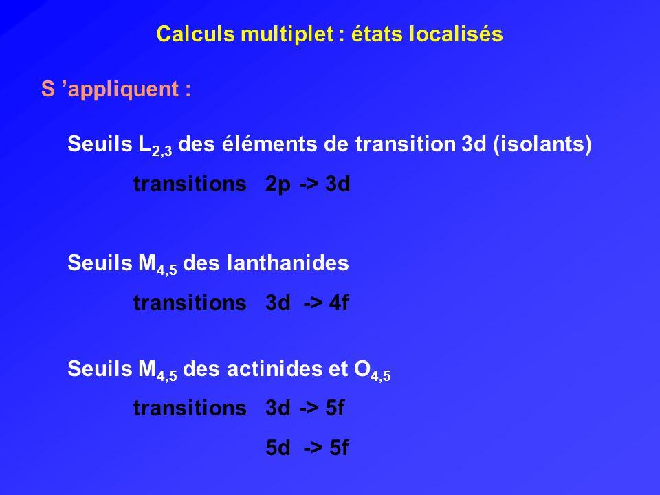 Calculs multiplet : états localisés