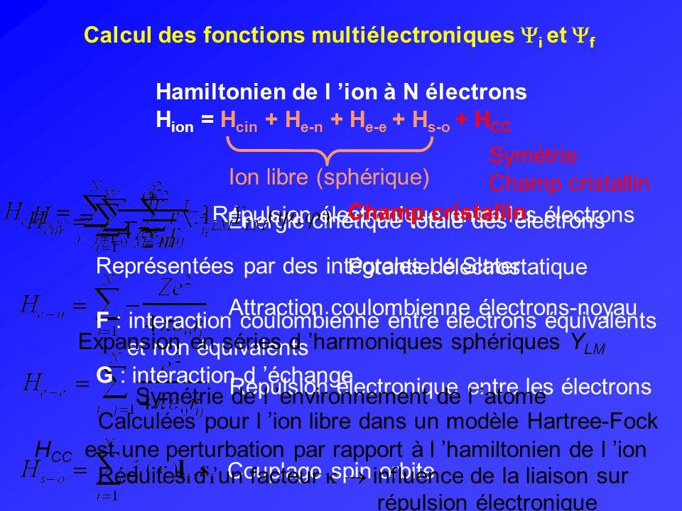 Calcul des fonctions multiélectroniques i et f
