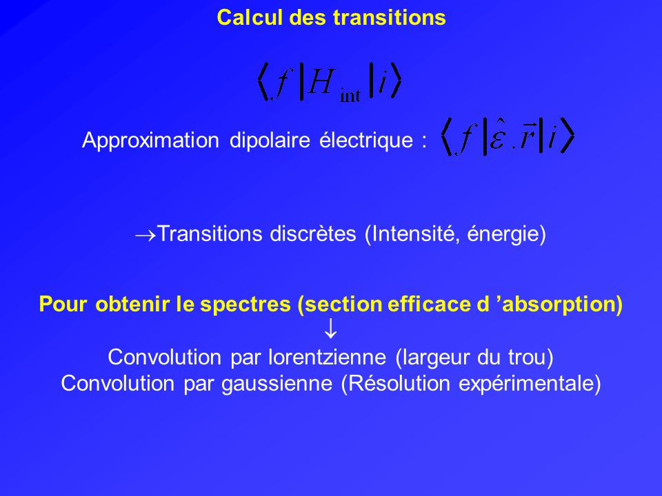 Pour obtenir le spectres (section efficace d 'absorption)