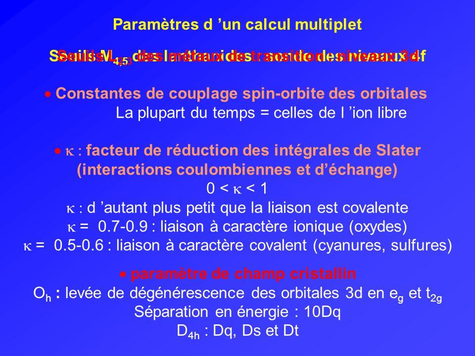 Paramètres d 'un calcul multiplet