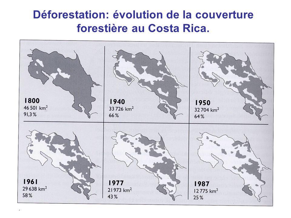 Déforestation: évolution de la couverture forestière au Costa Rica.