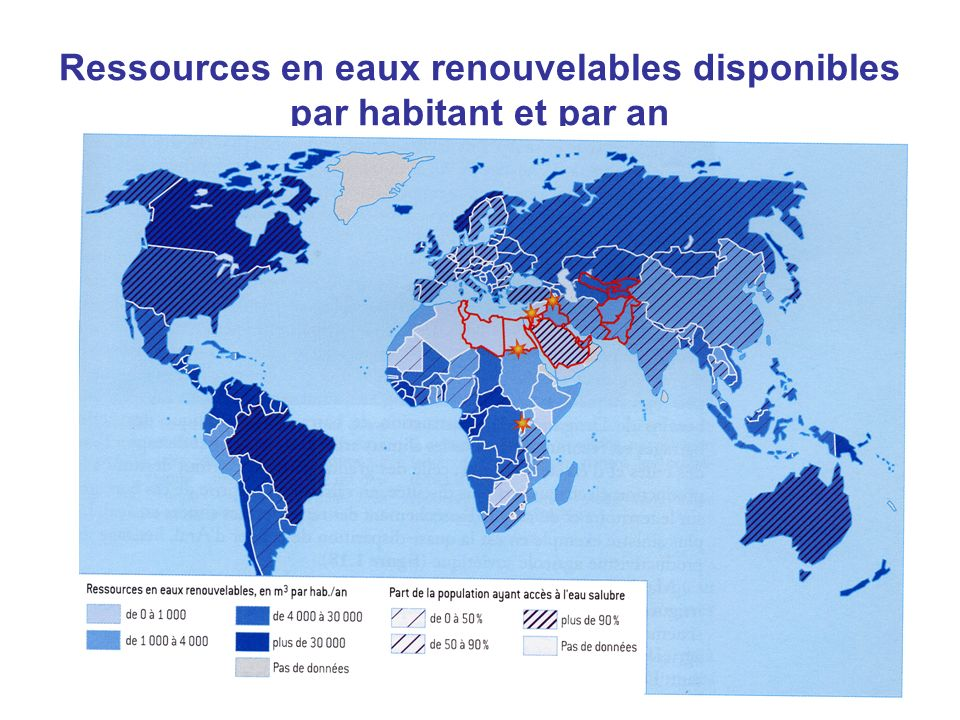Ressources en eaux renouvelables disponibles par habitant et par an