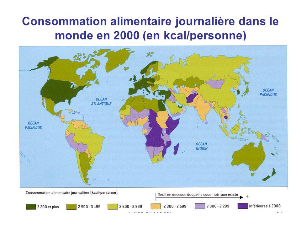 Consommation alimentaire journalière dans le monde en 2000 (en kcal/personne)