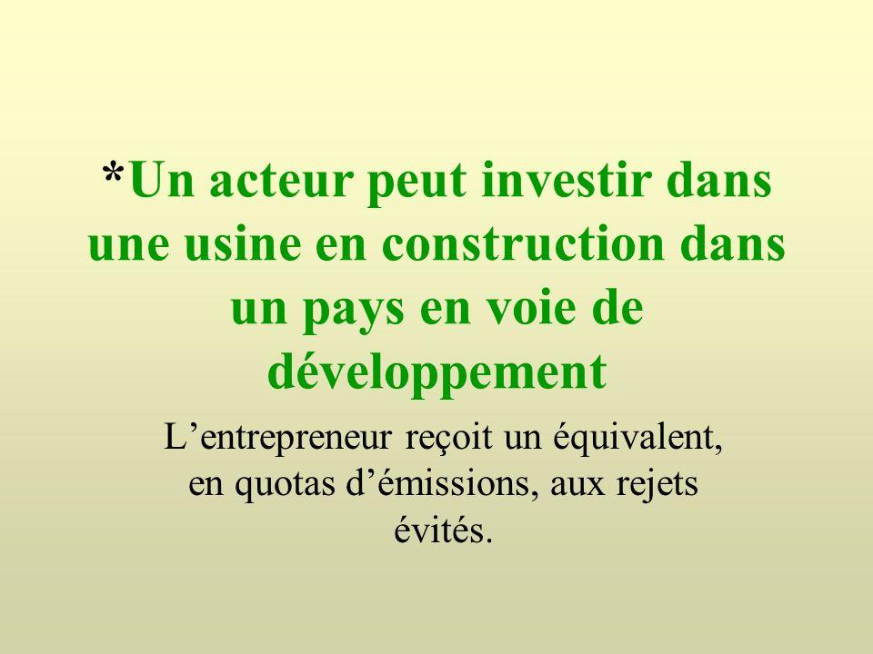 *Un acteur peut investir dans une usine en construction dans un pays en voie de développement